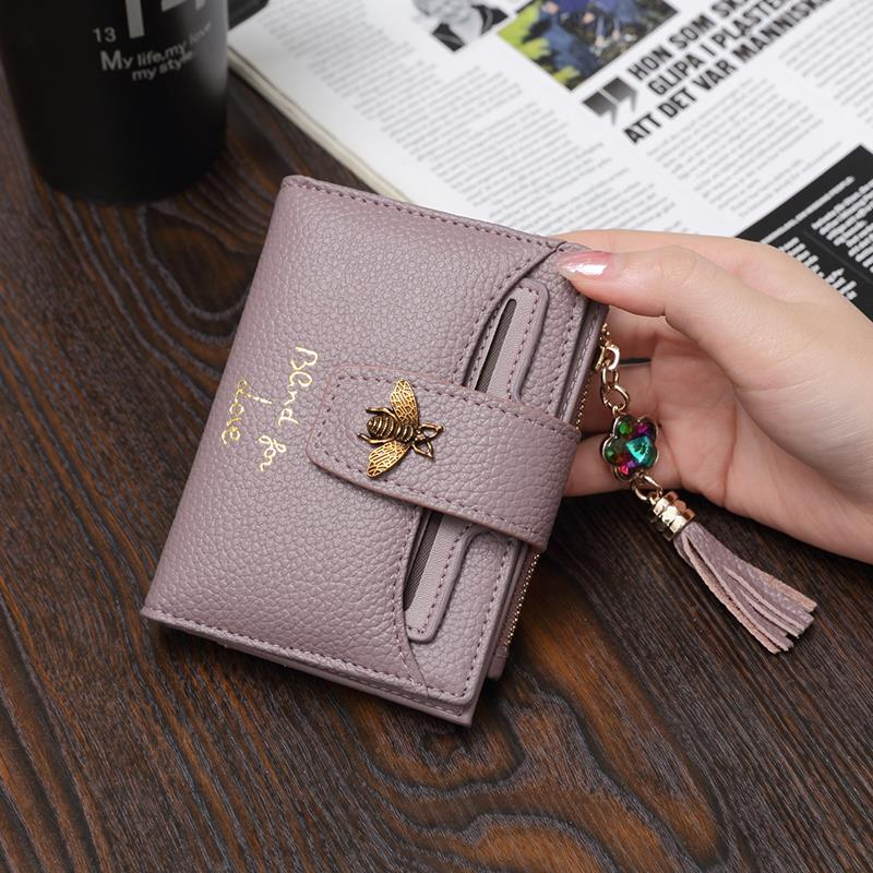 Womens purse, students simple, womens short, small, fresh, foldable, ultra-thin, small wallet, vertical Mini