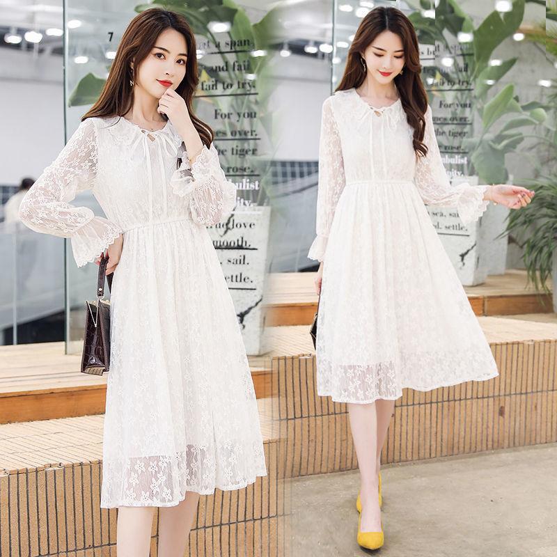 2021夏装新款仙女韩系chic花边蕾丝白色高腰连衣裙女中长款打底裙
