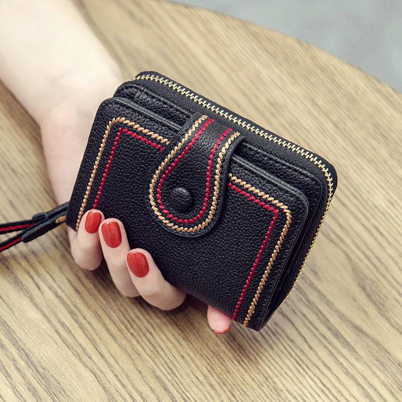 2020新款时尚小钱包短款女真皮多卡位卡包小ck牛皮钱夹折叠零钱包