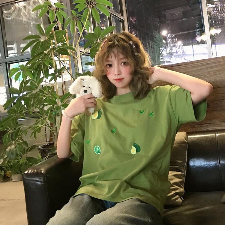 10月21日最新优惠短袖女ins潮性感古着感少女t恤港味原宿风牛油果绿抹茶绿爆大码