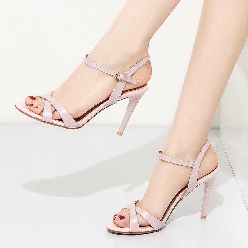 高跟凉鞋红色粉色女鞋ifashion2019夏季新款真皮时尚一字扣 细跟o