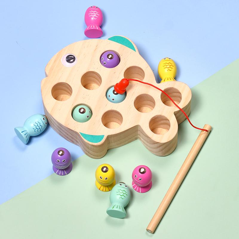 钓鱼玩具幼儿童锻炼手眼协调木制磁性一岁半宝宝2-3-4岁益智早教
