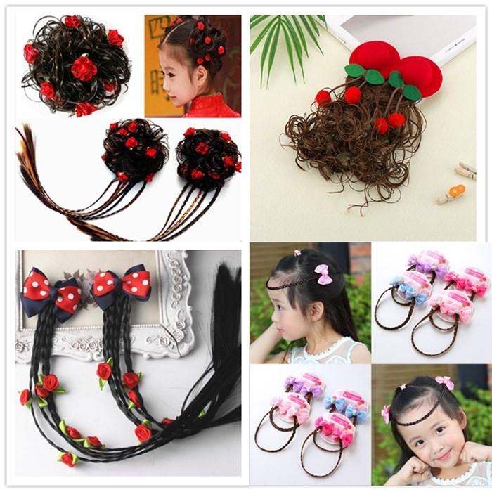 Childrens wig, womens long curly hair, princesss fashion braid, little girls hat, hairpin, girls hairpin, babys head ornament