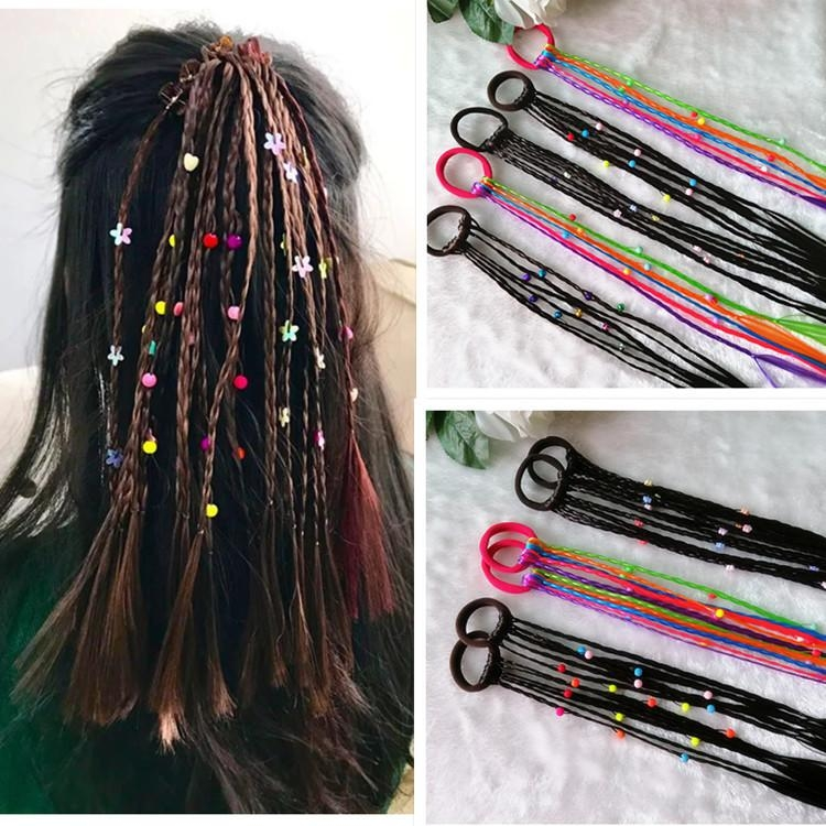 Childrens wig headdress girls little pigtail babys hair pigtail show style colorful long pigtail hair accessories