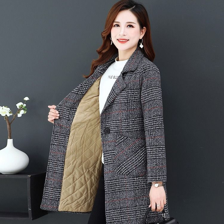 Large size mothers Tartan coat medium length autumn and spring womens top fashion woolen windbreaker
