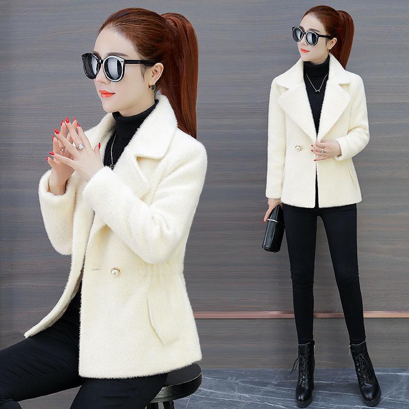 黄金貂绒时尚毛呢外套女短款秋冬新款韩版小个子仿水貂绒妮子大衣