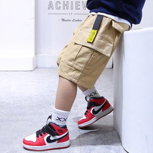 男童工裝短褲夏季潮外穿中大童夏裝薄款小童五分褲子寬鬆兒童中褲