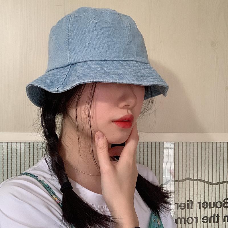 韩版牛仔短檐渔夫帽子女夏天日系复古文艺百搭遮阳帽布帽防晒盆帽