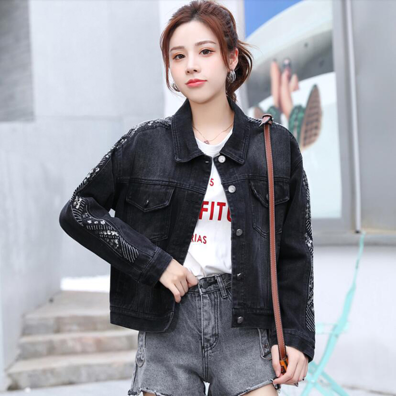 South Korea 2020 autumn new short denim jacket womens Korean loose versatile retro Sequin black jacket fashion