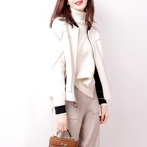 Hong Kong wool knitted jacket womens new short Korean BF jacket for autumn and winter 2020