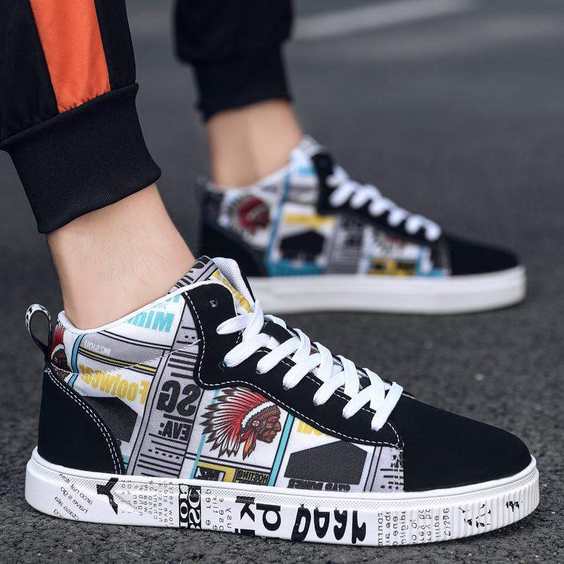 Special brand autumn new pattern canvas shoes mens high top trend 47 casual mens shoes 45 oversize 4