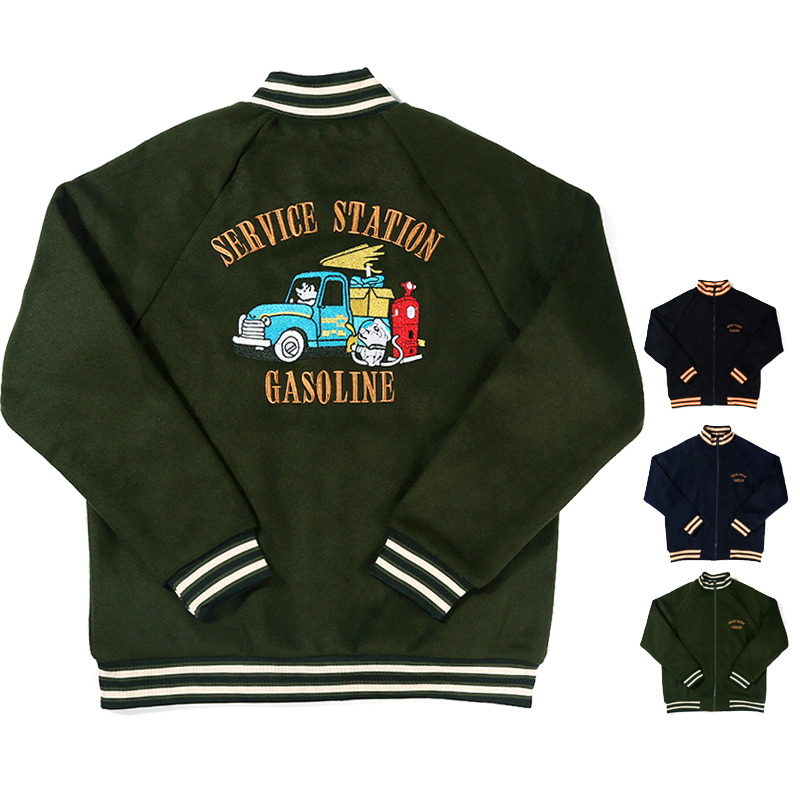 Gas station embroidered stand collar wool jacket mens and womens zipper woollen Baseball Shirt American coat