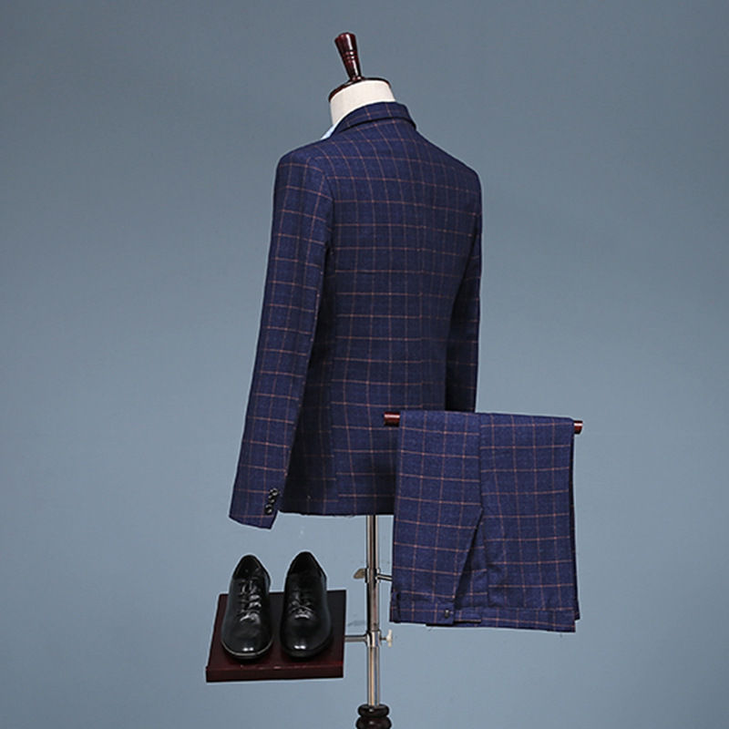 New performance suit, mens casual Plaid suit, three piece suit, young business professional dress, bridegroom knot NEW