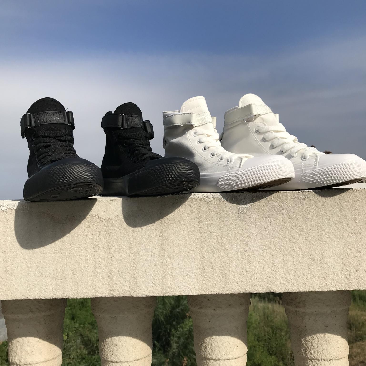 夏复古原宿魔术贴男女学生情侣高帮小白鞋帆布鞋全黑色休闲滑板鞋