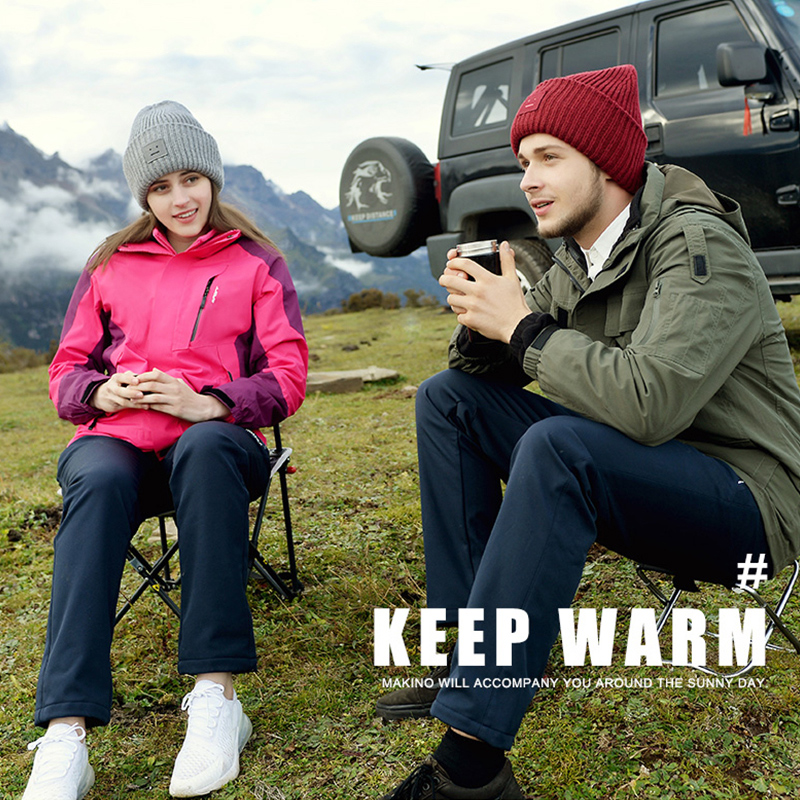 Outdoor pants waterproof pants men and women windproof large size fleece soft shell pants mens ski pants Plush thickening autumn and winter