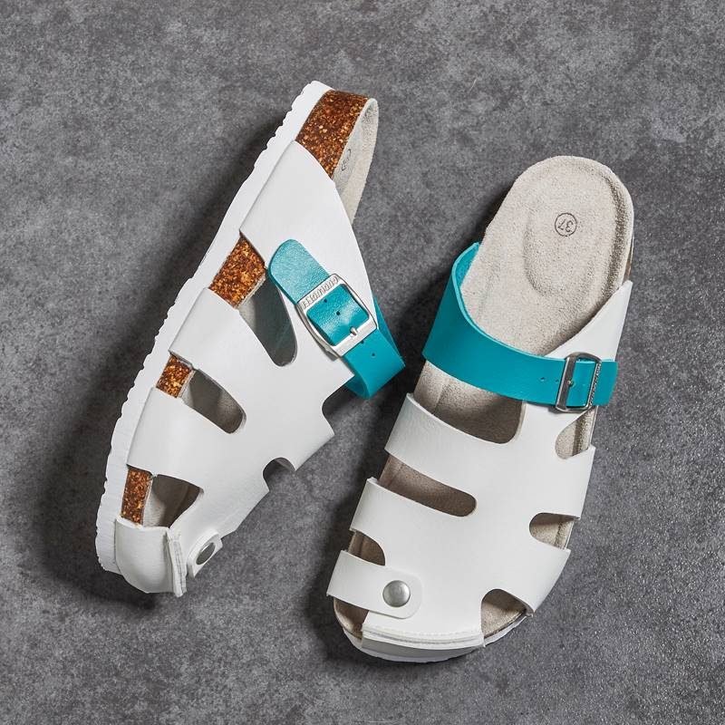 Baotou half drag hole sandals men and women bokenshahan couple students wear on the beach vacation cork hot selling