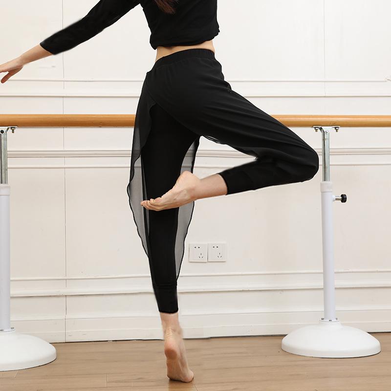 现代舞蹈假两件哈伦裤九分裤莫代尔练功服雪纺纱小脚裤女K022
