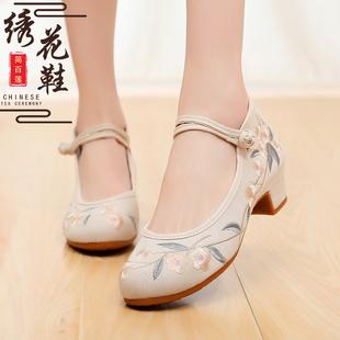 新款淡雅老北京布鞋女绣花鞋民族风古风汉服搭配鞋中跟增高旗袍鞋品牌