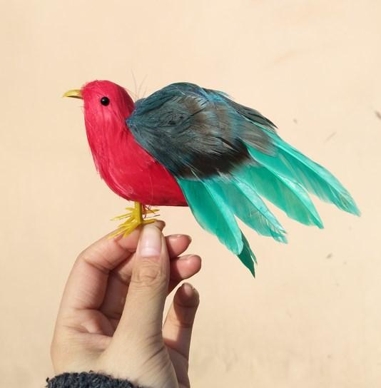 仿真羽毛小鸟摆件田园假鸟橱窗装饰摄影模型道具家居摆件现代简。