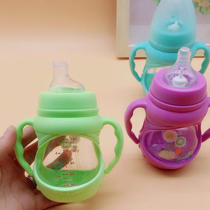 玻璃宽口奶瓶带吸管双宝宝鸭嘴杯婴儿学饮杯手柄刻度迷你喝水奶瓶54.00元包邮