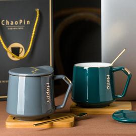潮品马克杯北欧咖啡杯创意陶瓷杯子办公室水杯早餐杯牛奶杯带盖勺