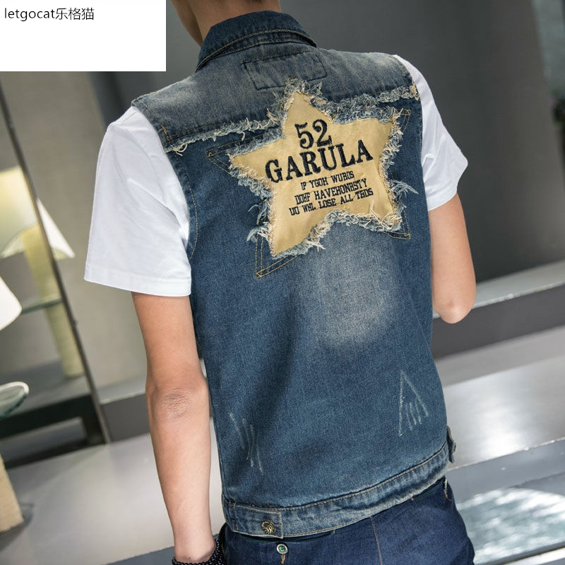 Denim vest mens new mens wear denim vest mens fashion short sleeveless jacket jacket jacket retro vest
