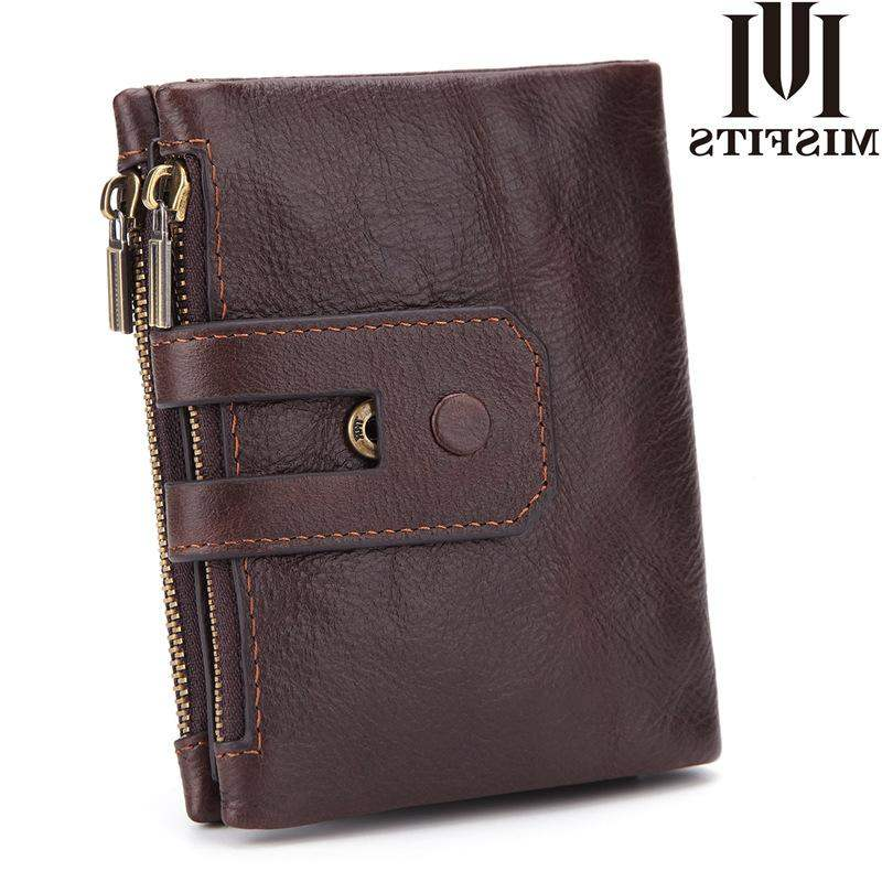 Genuine Hong Kong genuine leather handbag with three fold wallet for mens short top layer cowhide wallet European and American double zipper leisure small