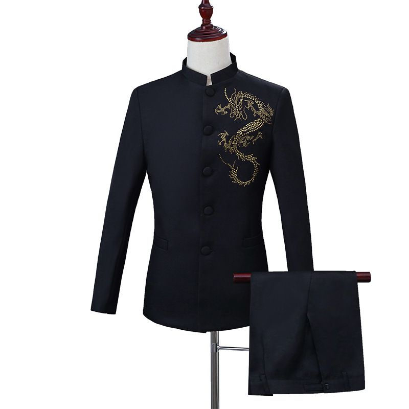 New mens slim suit Chinese style retro stand collar embroidery Tang suit young host performance
