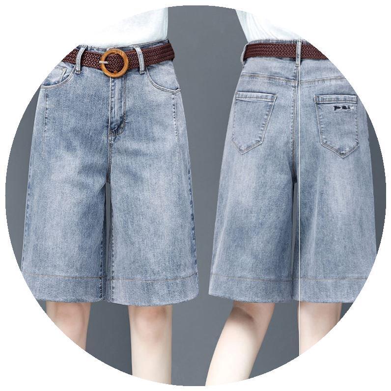 Knee length shorts denim mid length Capris show thin thick legs high waist leisure 2020 new summer loose