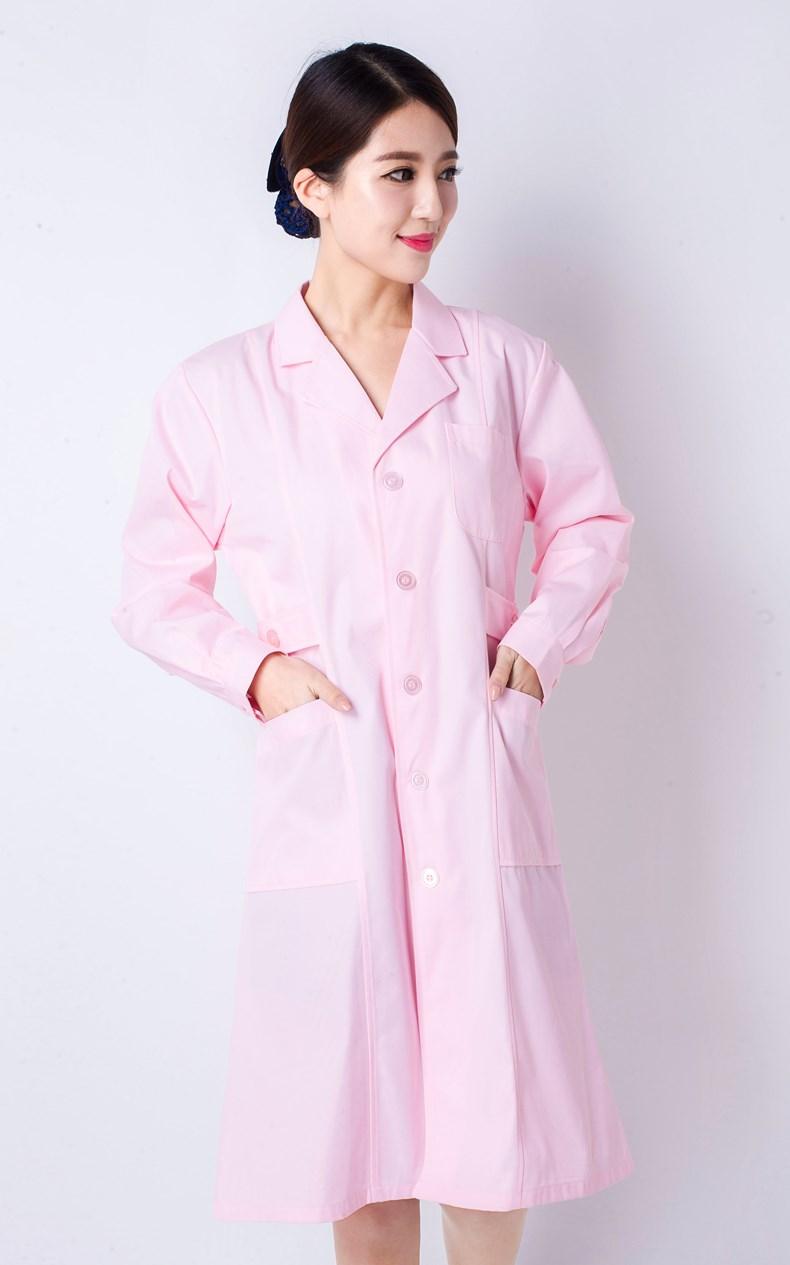 専門看護師服の長袖の女性のピンク色のスーツは美容服の薬屋を受け取って従って幼稚園の保健の医者の仕事の服に従います。