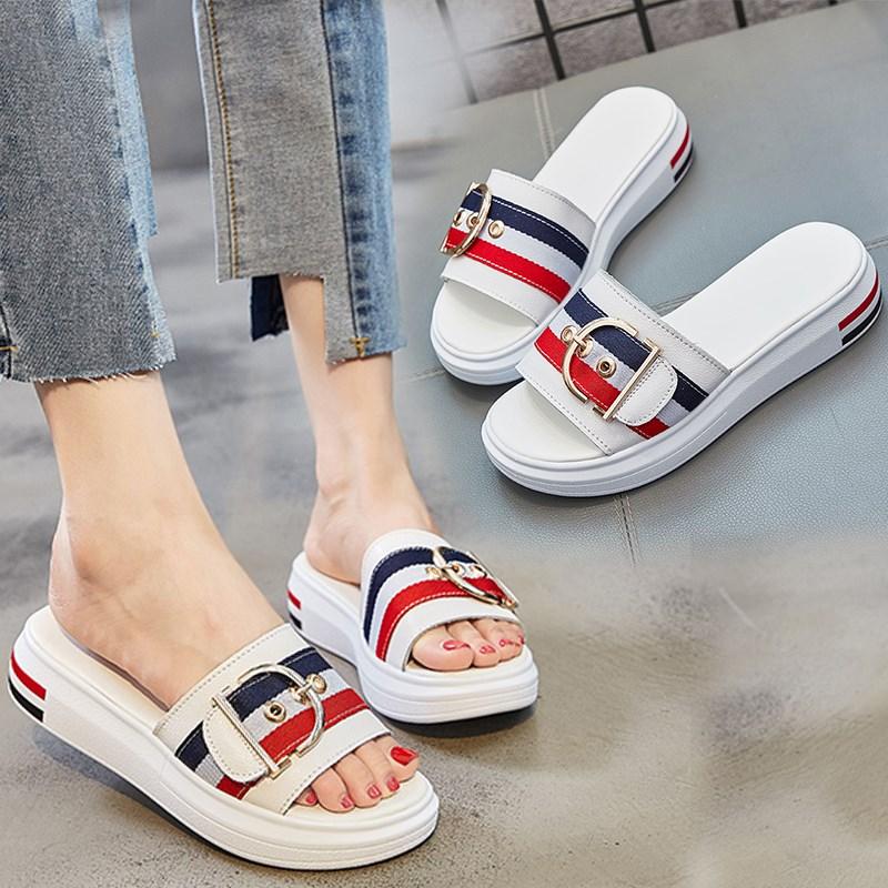 拖鞋女夏时尚外穿2019新款韩版网红沙滩H鞋拖厚底一字拖百搭凉拖