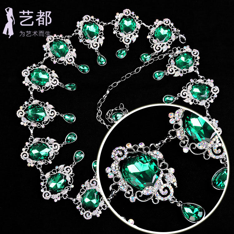 2017 belly dance waist chain new hollow diamond chain water diamond anti hook retro beauty tear color gem crystal waist cover