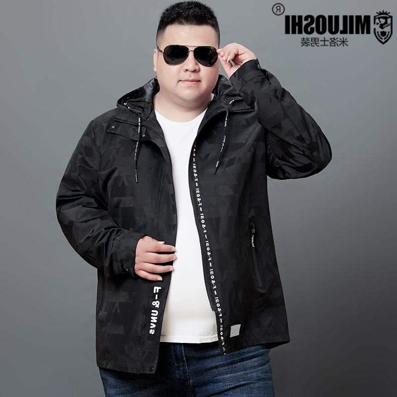 高档正品牌胖男青年夹克男外套户外休闲运动骑车服加肥加大码宽松