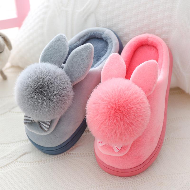 儿童棉拖鞋秋冬季男女童中小童宝宝亲子鞋室内包跟可爱公主拖鞋