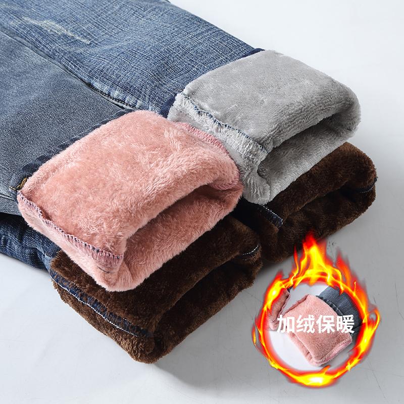 高腰牛仔裤女秋冬显瘦弹力紧身铅笔小脚裤