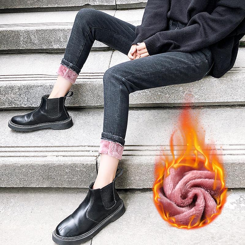 牛仔裤女2020秋冬新款高腰修身显瘦显高百搭紧身加绒小脚铅笔裤潮