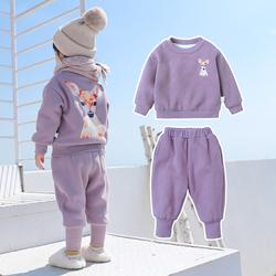 宝宝卫衣套装秋冬加绒加厚小童冬儿童冬装女童网红女运动冬季洋气