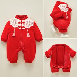 婴儿唐装秋冬套装新生儿中国风连体衣宝宝满月百天外出拜年爬爬服