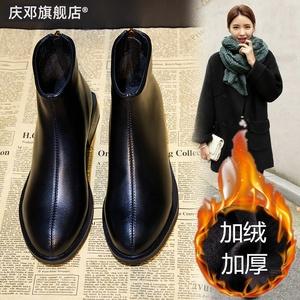 2019新款韩版短筒百搭粗跟马丁靴子女冬季加绒中跟短靴女春秋单靴