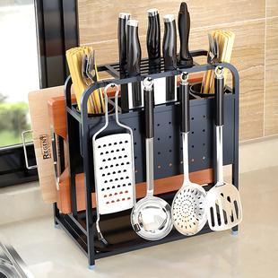 黑色不锈钢多功能用品放厨房刀架