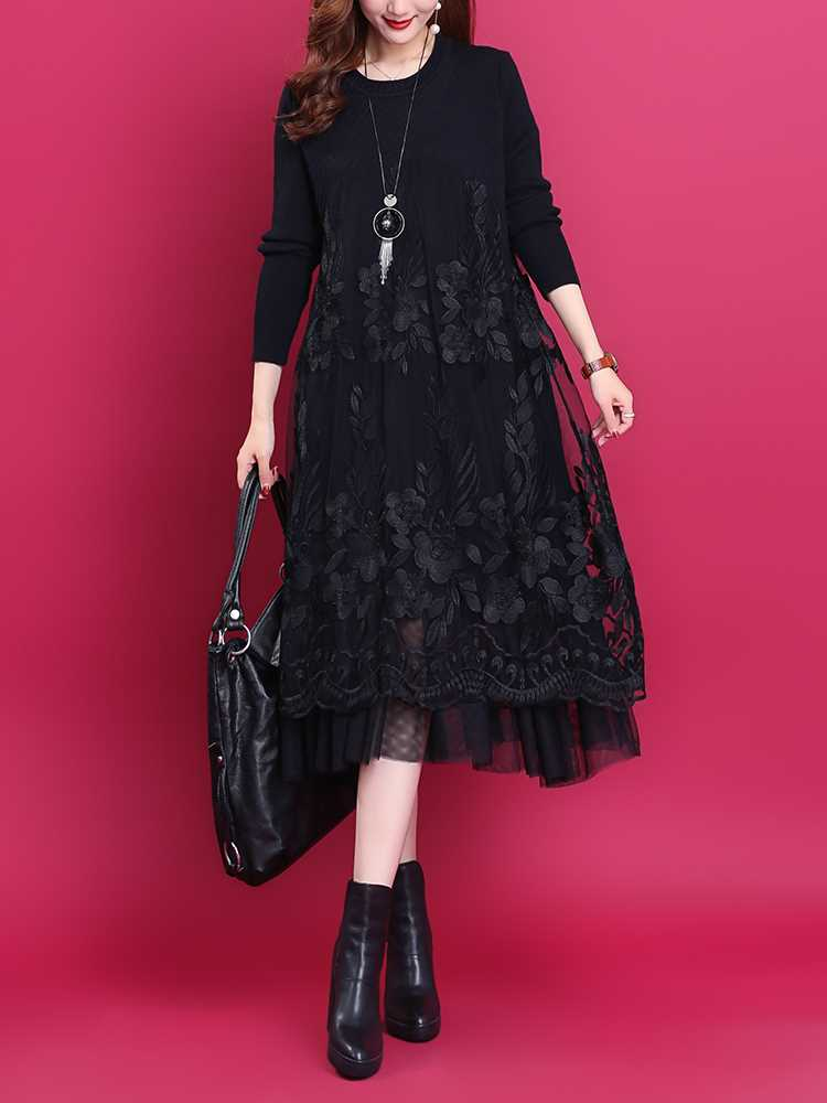 Embroidered Floral mesh thin black bottomed skirt long sleeve 2021 autumn winter new wool knitted stitched dress