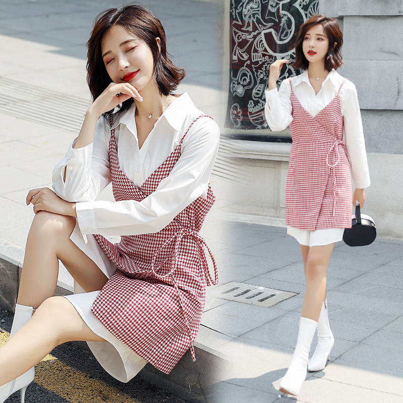 D dress womens 2020 spring new foreign style slim OLO collar shirt Plaid suspender two piece skirt suit