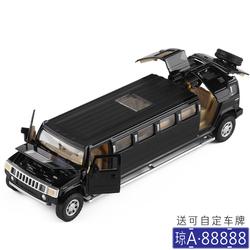 7开门加长悍马豪华房车婚车 儿童男孩子仿真回力声光汽车模型玩具