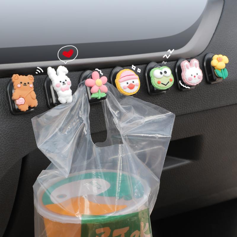 车载挂钩前排可爱多功能汽车置物小挂...