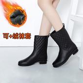 艳瑾防滑时尚短筒水鞋防雨鞋女成人外穿防水胶鞋女雨靴加绒套保暖