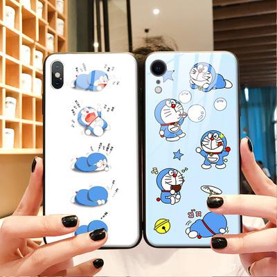 适用于哆啦A梦苹果xr手机壳iphone11可爱萌卡通8蓝胖子iPhone11Pro Max玻璃壳xsmax女iphone7plus猫防摔套6s