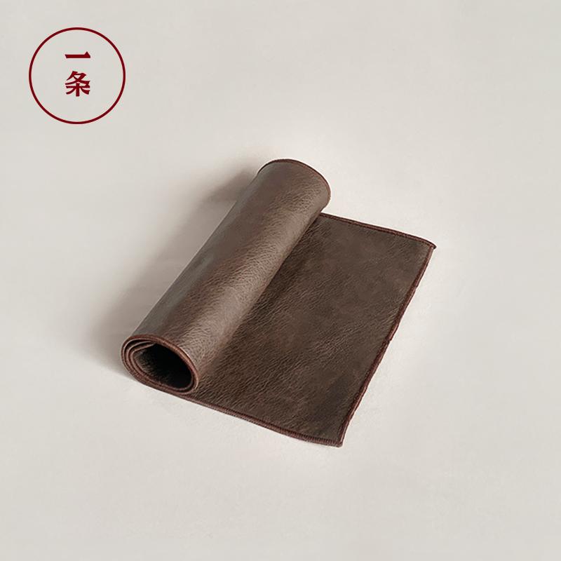 一条皮质茶席家用茶具配件茶旗简约茶盘垫功夫摆件防水茶道零配
