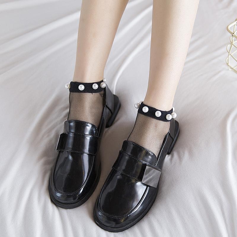 珍珠袜子女短袜可爱短袜玻璃丝袜女船袜纯棉底春夏超薄透气水晶袜,可领取元淘宝优惠券