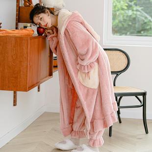 珊瑚绒睡衣女秋冬季加厚网红款学生甜美浴袍睡袍长款法兰绒家居服