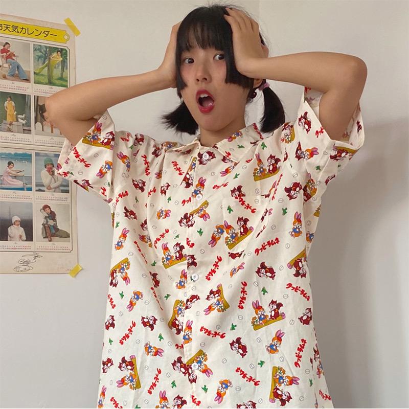 nwc自制昭和松鼠日系古着风女衬衣